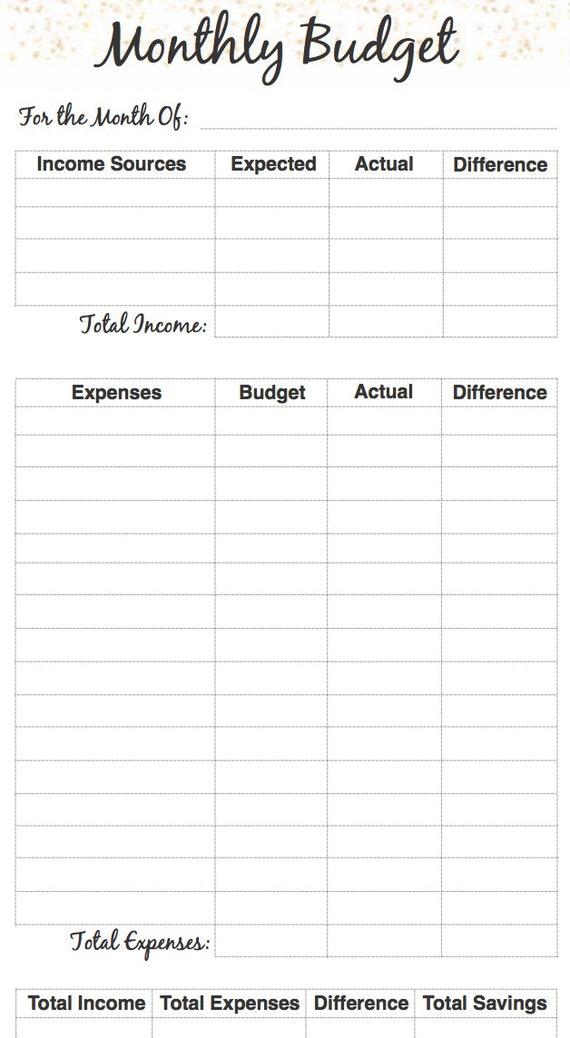 Monthly Budget Planner Insert Filofax PersonalKikki K Medium