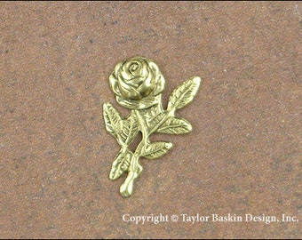 Victorian Rose Flower Finding in Antiqued Gold Plate (item 1105 AG) - 12 Pieces