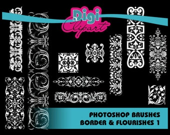 Borders and Flourish Photoshop Brushes and PNG files - Personal and Commercial Use - INSTANT DOWNLOAD