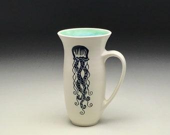 Hand thrown mug, tall jellyfish mug, porcelain cup, sgraffito black white, seafoam green, nautical coffee cup, mermaid pottery, Anja Bartels