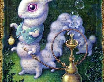 White Rabbit art print 7.5x10, Surreal Wonderland Rabbit/ Hookah-smoking Caterpillar, Alice in Wonderland wall art fantasy painting, Oddity
