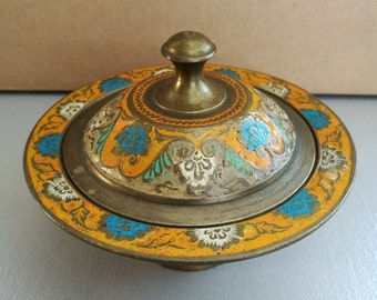 A Beautiful Indian Brass And Floral Enamel Trinket Pot. Vintage Indian Trinket Box Beautifully Decorated With Orange Blue And White Enamel
