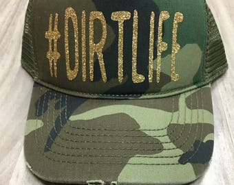 Dirtlife Hashtag Glitter Trucker Distressed Camo Hat Mesh Camping Desert Riding Country Glamis Ocotillo Dunes