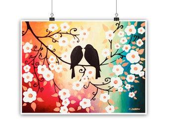 Birds Fine Art Print, Colorful Wall Art Love Birds Art Print, Cherry Blossom Print Romantic Gift for Couple