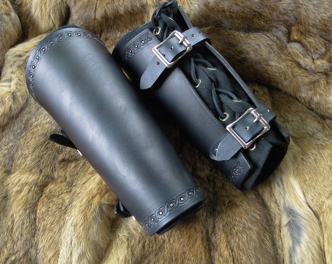 Medieval Leather Bracers - Studded Viking Arm Guards, Renaissance Armor Set Mens