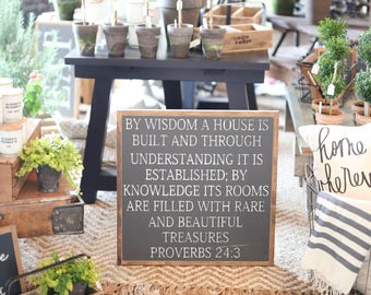 2'X2' By Wisdom A House Is Built Proverbs 24:3 Framed Wood Sign