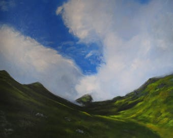 """Heaven and Earth 2 Original Oil Landscape in blue and green 30"""" x 24"""""""