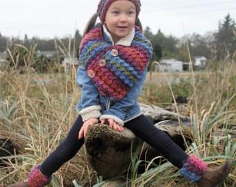 CROCHET Scarf PATTERN: 'Button Wrap Scarf', Crochet Headband, Boot Cuffs, Kids Winter Fashion, Winter Accessories