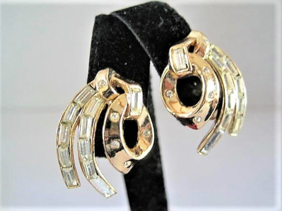 Crown Trifari Earrings, Channel Set Rhinestones, Pat Pend Clip Ons,  Book Piece