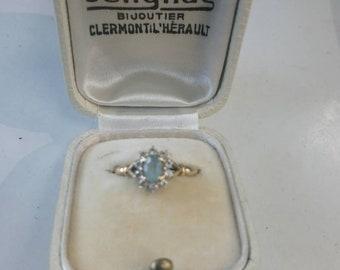 Yellow Gold Ring 18 k, Topaz and diamond