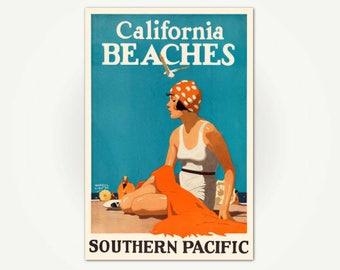 California Beaches Travel Poster Print - Southern Pacific Railroad Poster Art - Vintage California Travel - Maurice Logan