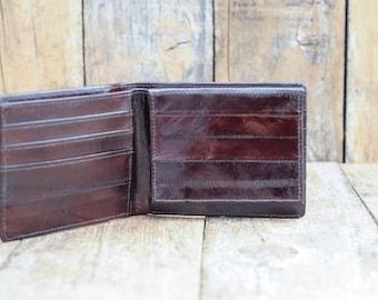 Bi fold wallet eel skin wallet exotic leather wallet dark brown wallet mens wallet pocket wallet
