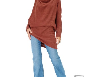 NO.182 Vermillion Orange Knitted Batwing Sleeves Sweater, Cowl Neck Tunic, Women's Sweater