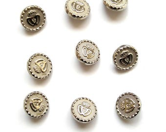 Set of 9 buttons old round fancy silver 15 mm in diameter.