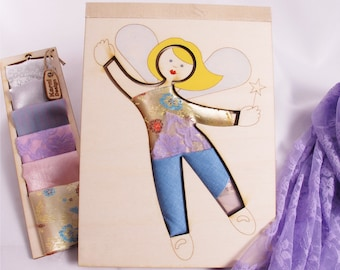 Fairy, Wooden Doll, Creativity Kit, Dress Up Doll, Kit, Wood and Fabric, Fashion Doll,
