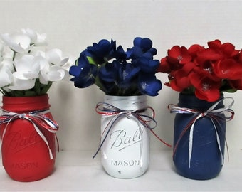 4th of July Mason Jars / Utensil Holder / July 4th Decor / Centerpiece / Patriotic Mason Jars / Flower Arrangement / Fourth Of July