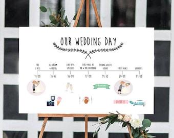 Customisable Wedding Timeline (White) - Digital file
