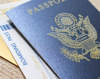 Passport Wedding Invitation - Navy and Gold (Paradise Island, Bahamas)
