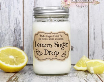 Lemon Sugar Drop Scented Candle, Soy Wax Candle, Scented Candle, Lemon Candle, Mason Jar Candles, Gifts Under 20, Lemon, Mother's Day