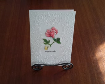 Handmade Embossed Floral Pink Rose Greeting Card with verse