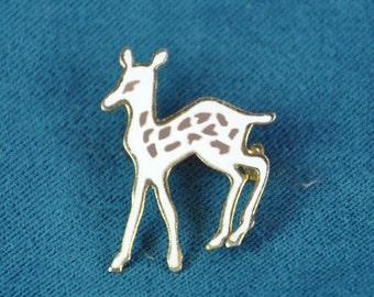 Gold Enamel Pin Deer Fawn 1960s Vintage