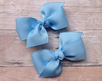 Light blue pigtail bows, light blue bows, toddler bows, pigtail bows, baby bows, small bows, blue bows, girls hair bows, hair bows, bows