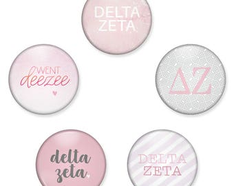 Delta Zeta Button Set / DZ Pin Back Buttons / Delta Zeta Sorority Button Pack / DeeZee Magnet Set / Delta Zeta Magnet / Bid Day