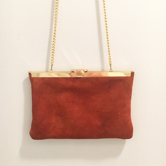 Vintage Brown Suede Leather Mid Century Gold Clasp Mr. M New York, New York Handbag - Clutch - Shoulder Bag