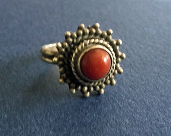 Vintage Sterling Silver Carnelian Ring India