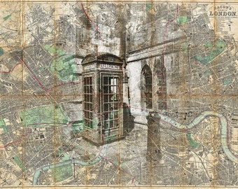 London England Travel Map Art Photo Print Phone Booth Collage Cartography Great Britain Anglophile