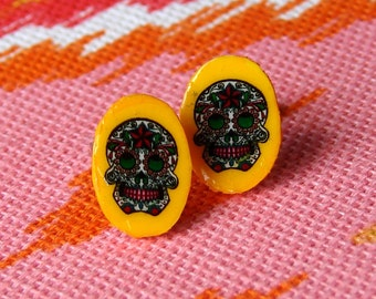 Earrings - Seriously Small Sugar Skull Studs on Sunny Golden Yellow