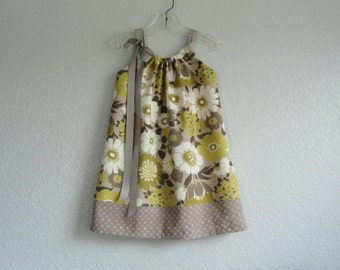 Girls Floral Easter Dress - Gold, Cream and Grey Floral Sun Dress - Girls Gold Pillowcase Dress - Size 12m, 18m, 2T, 3T, 4, 5, 6, 8, or 10