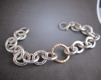 Sterling silver 14kt gold chain link bracelet one of a kind Theresa pytell