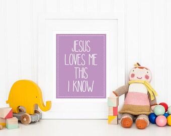 Jesus Loves Me This I Know - Christian Nursery Art - Lavender Nursery Decor - Girls Room Wall Decor - Kids Room Sign