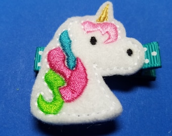 "Unicorn Feltie Hair Clip Clippie - ""Eunice the Unicorn"" - For Infant Toddler Girl"