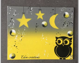 Table name, yellow and gray, customizable table name in vinyl, OWL