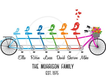 Personalized family tree, custom family portrait, tandem bicycle, bike, unique gift for family, wedding anniversary gift, wall art print