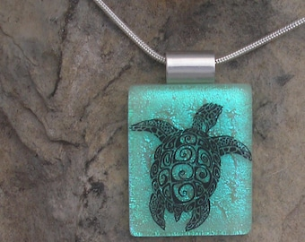 Sea Turtle Necklace Dichroic Fused Glass Sea Turtle Pendant