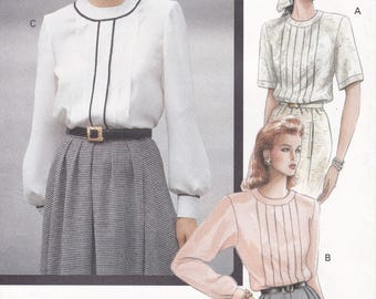 FREE US SHIP Vogue 7673 Vintage Retro 1980s 80s Classic Pleated Blouse Size 14 16 18 Bust 36 38 40 Sewing Pattern Factory Folded