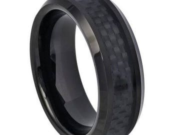 High Polished Black IP Plated with Black Carbon Fiber Inlay Beveled Edge – 8mm
