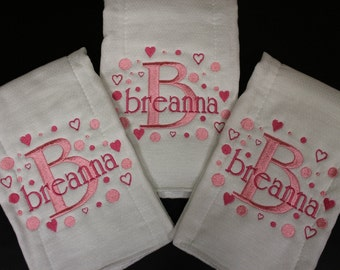 Personalized Embroidered Baby Burp Cloth 3 set