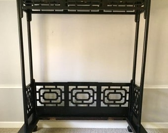 Vintage Fretwork Ming Style Canopy Bed
