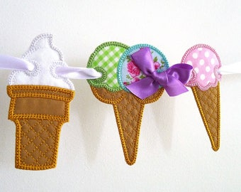 """Ice Cream Banner In The Hoop Project Machine Embroidery Design Applique Patterns in 5 sizes 4"""", 5"""", 6"""", 7"""" and 8"""""""