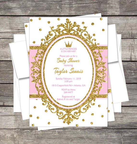 Royal princess baby shower invitation pink or lavender gold like this item filmwisefo Images