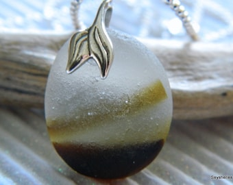One of a Kind Frosty Sea Glass with Golden Brown Colors, Pewter Whale's Tail Bail