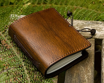 A7, Pocket Size, Classic Leather Bound Journal, Brown Leather Journal, Field Notebook, Mini Journal, Leather Notebook, Personalised Journal.