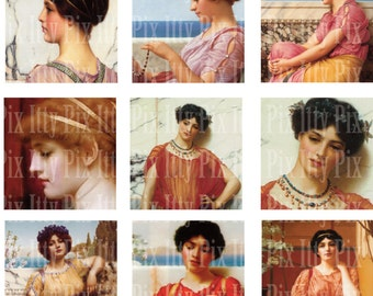 Godward Digital Collage Sheet - Inchies - 1 inch square - Fine Art - Instant Download