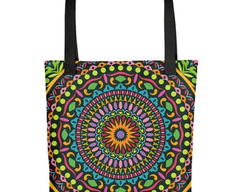 Mandala Bohemian Tote bag Colorful Geometric Boho bag Psychedelic Hipster Accessories Kaleidoscope Bookbag
