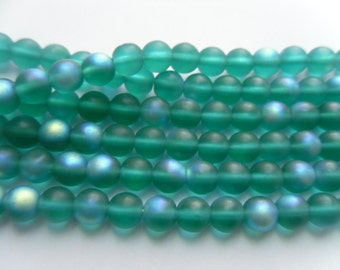 Teal Frosted Matte AB 6mm Czech Glass Beads (1 Strand) 11 inch Strand    -D1A1-2