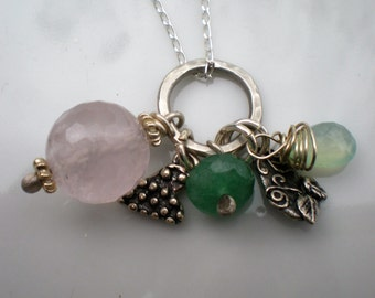 Sterling Silver and Rose Quartz, Chalcedony, Aventurine and Silver Charm Cluster Necklace